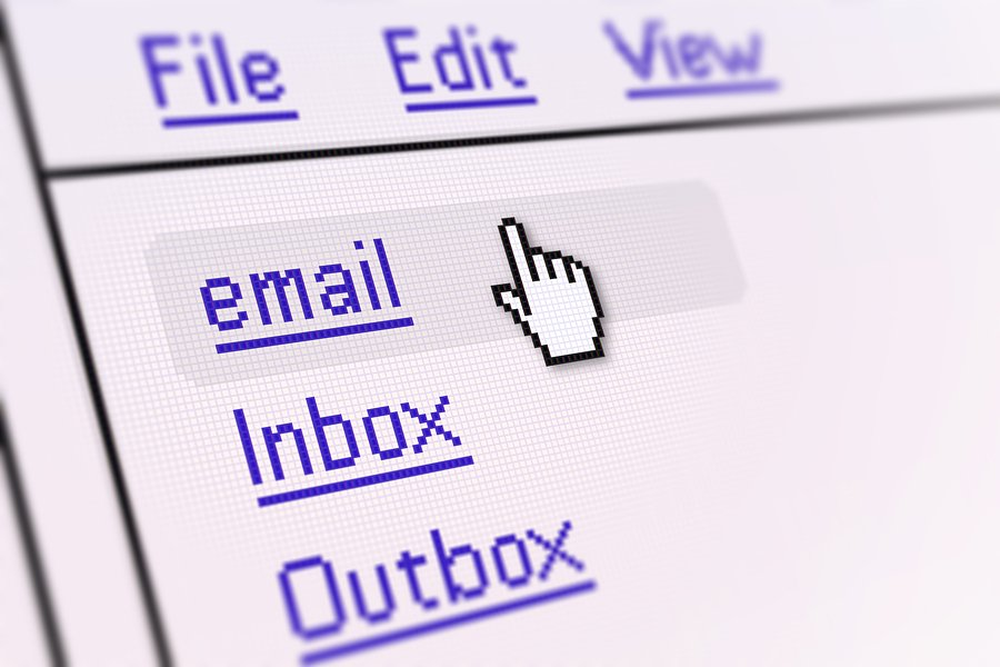 Cursor hovering over email inbox